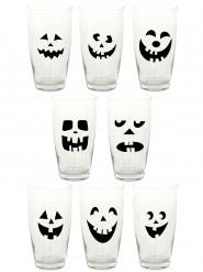 Kürbis-Glasmarker Halloween-Glasaufkleber 16 Stück schwarz