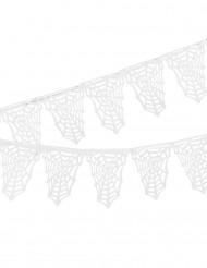 Spinnennetz Fähnchen Girlande - Halloween weiss 3.65m