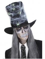 Zylinder mit Spinnennetz und Spinnen Halloween schwarz-weiss-grün