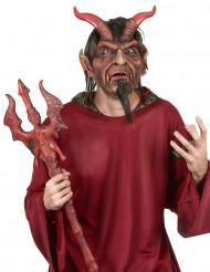Fürst der Hölle Deluxe Halloween-Maske mit Hörnern rot