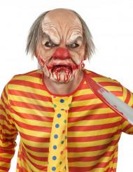 Blutige Killerclown-Maske Horrorclown-Halloweenmaske hautfarben-rot-grau
