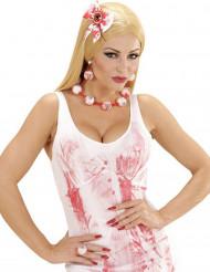 Augapfel Halskette und Ohrringe Halloween Schmuckset rot-weiss