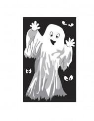 Gespenst oder Skelett Fenster Dekoration - Halloween weiss-schwarz
