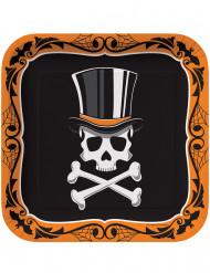 Halloween-Partyteller Totenkopf Halloween-Tischdeko 8 Stück bunt  23x23cm
