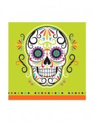 Halloween-Servietten Dia de los Muertos-Partyservietten 16 Stück grün-weiss-bunt 25x25cm