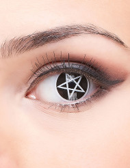 Kontaktlinsen Satan-Pentagramm - Halloween schwarz-weiss