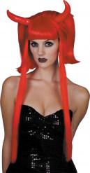 Dämonin-Perücke mit Teufelshörnern Halloween Kostüm-Accessoire rot