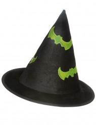 Hexenhut mit Reflektoren Halloween schwarz-grün