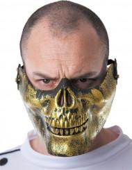 Halbmaske Totenschädel Halloween gold-schwarz