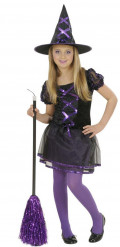 Kleine Zauberin Kinder-Hexenkostüm schwarz-lila
