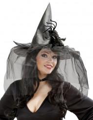 Halloween Hexenhut mit Spinne und Tüll grau-schwarz
