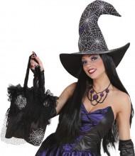 Halloween Rüschen-Handtasche Spinnennetz schwarz-silber