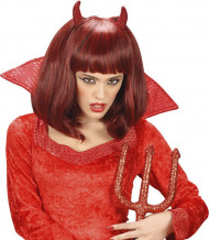 Teufelshörner Perücke rot