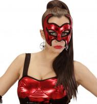 Rote Dämonen-Maske mit Pailletten für Damen - Halloween rot