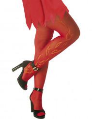 Strumpfhose Flammendruck Halloween Kostümzubehör rot-orange 15 DEN