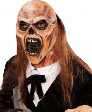 Zombie-Totengräber Halloweenmaske mit Kunsthaar beige-braun
