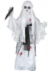 Animierte Killer Braut mit Sound Halloween Deko weiss-schwarz 75cm