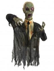 Animierter Zombie Halloween-Bodendekoration grau 140cm