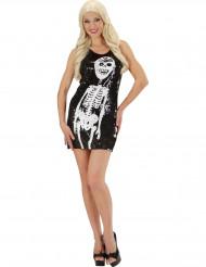 Sexy Halloweenkleid mit Skelettmotiv schwarz-weiss