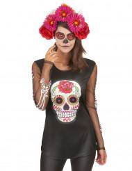 Tag der Toten Longsleeve-Shirt Sugar Skull schwarz-bunt