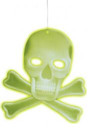 Schädel mit Knochen Halloween-Hängedeko nachtleuchtend weiss 27x23cm