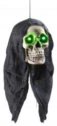 Totenkopf mit Leuchtaugen Halloween Hängedeko weiss-schwarz 45cm