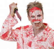Blutiger Psycho Halloween Halbmaske hautfarben-rot