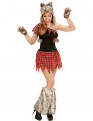 Süßer Werwolf Halloween-Damenkostüm schwarz-rot