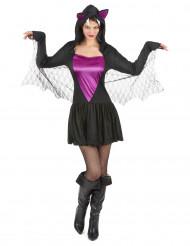 Sexy Vampirfledermaus Halloween-Damenkostüm schwarz-lila