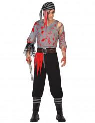 Blutiger Pirat Halloween-Herrenkostüm schwarz-grau-rot