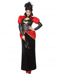 Vampirgräfin-Damenkostüm Halloweenkostüm rot-schwarz