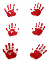 Blutige Handabdrücke Halloween Deko 6 Stück rot-weiss 18x13cm