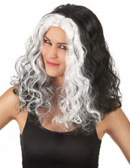 Schwarz-weiße Perücke für Damen s-w