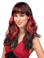 Elegante Halloween Damen-Perücke schwarz-rot
