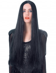Extralange Halloween Damen-Perücke schwarz 75cm