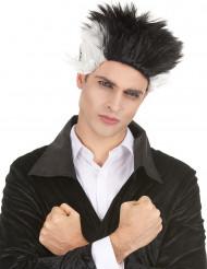 Vampir-Perücke wildes Kurzhaar Kostümzubehör schwarz-weiss