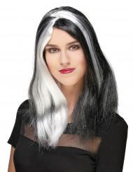 Gothic Langhaar-Perücke Halloween schwarz-weiss