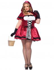 Dunkles Rotkäppchen Damenkostüm Märchen Übergrösse rot-weiss-schwarz