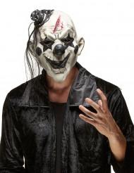 Horrorclown-Maske Böser Pantomime-Latexmaske weiss-schwarz-rot