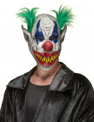 Koboldclown-Maske Horrorclown-Latexmaske weiss-bunt