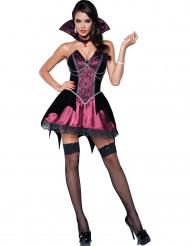 Sexy Vampirin Halloween Damenkostüm schwarz-bordeaux