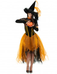 Fantastische Hexe Halloween-Damenkostüm orange-schwarz