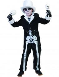 Skelett-Edelmann Halloween-Kinderkostüm schwarz-weiss