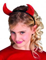 Teufelshörner mit Pailletten für Kinder Haarreif Halloween Kostümaccessoire schwarz-rot