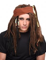 Piraten-Perücke mit Dreadlocks, Kopftuch und Perlen braun
