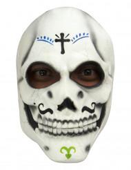 Skelette Maske Dìa de los muertos für Erwachsene - Hand bemalt weiss-bunt