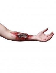 Cyborg-Fleischwunde Halloween Latex-Applikation Terminator Genisys™ Lizenzartikel silber