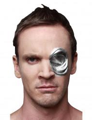 T-1000 Augenwunde Halloween-Latexapplikation Terminator Lizenzartikel silber
