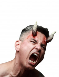 Gebogene Dämonenhörner Teufelsaccessoire 2 Stück weiss-schwarz
