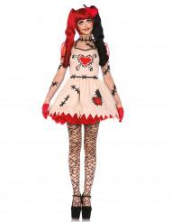 Voodoo Horrorpuppe Halloweenkostüm für Damen beige-rot-schwarz